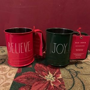 Rae Dunn Flour Sifter. 3 Cups .JOY and BELIEVE Set
